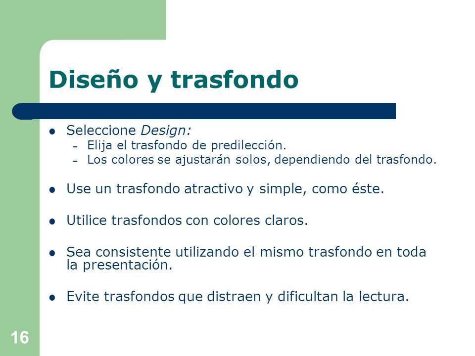 Diseño y trasfondo Seleccione Design: