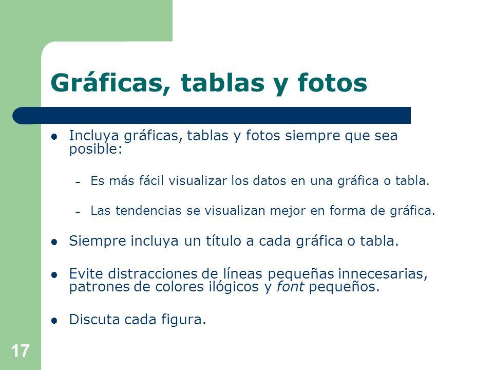 Gráficas, tablas y fotos