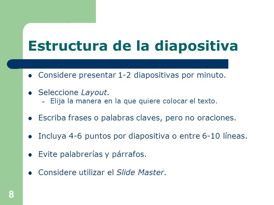 Estructura de la diapositiva