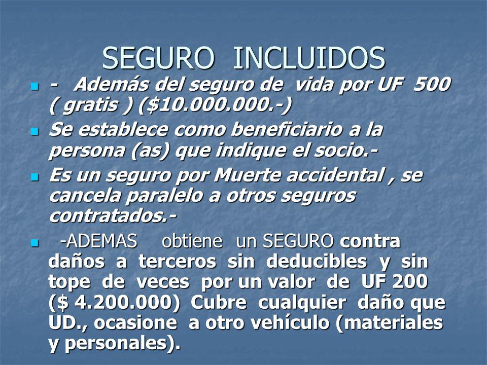 SEGURO INCLUIDOS - Además del seguro de vida por UF 500 ( gratis ) ($10.000.000.-)
