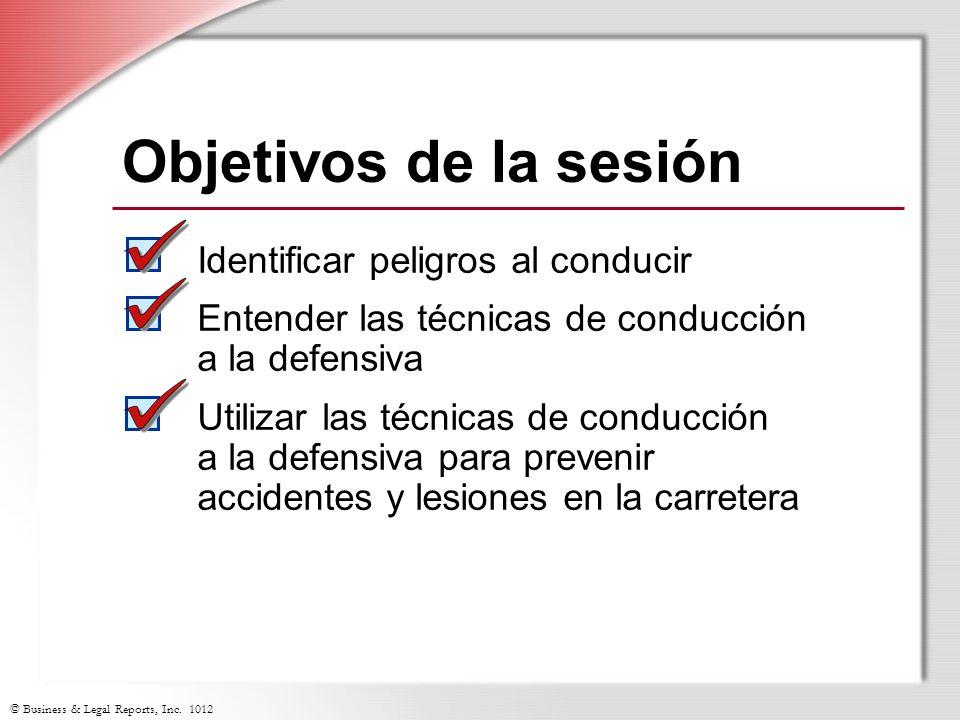 Objetivos de la sesión Identificar peligros al conducir