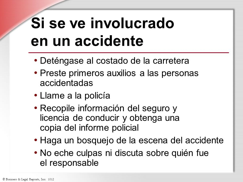 Si se ve involucrado en un accidente