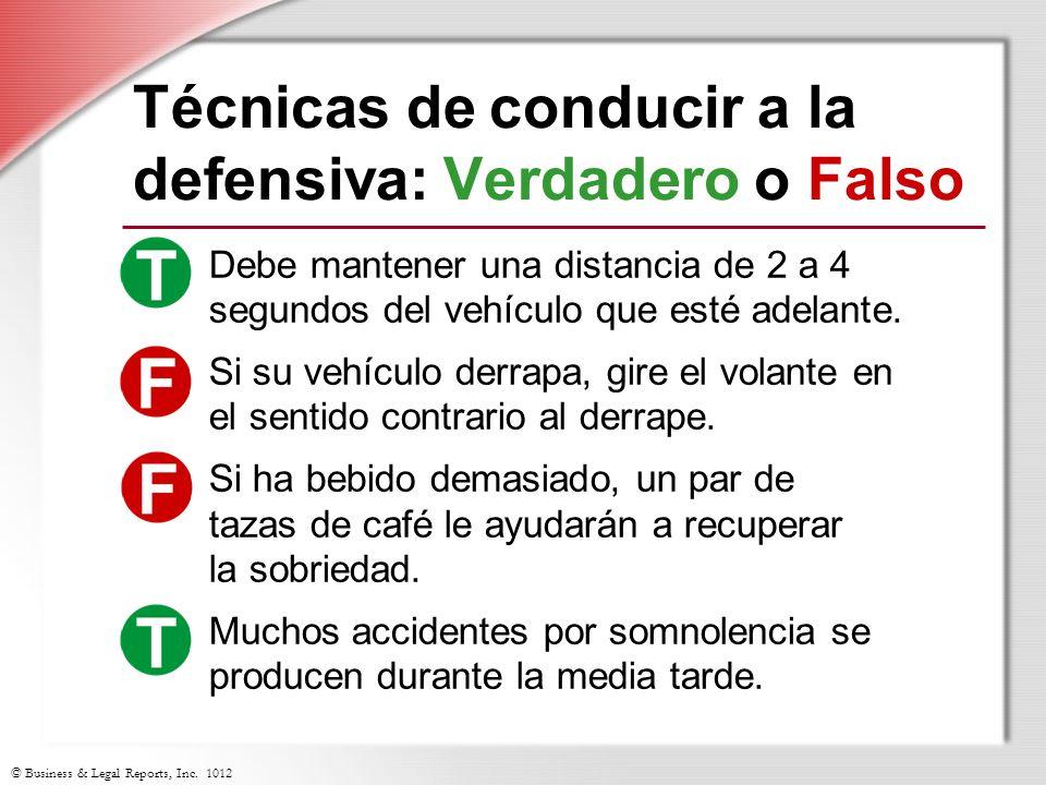 Técnicas de conducir a la defensiva: Verdadero o Falso