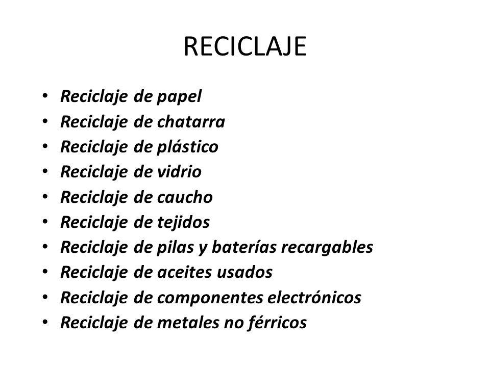 RECICLAJE Reciclaje de papel Reciclaje de chatarra