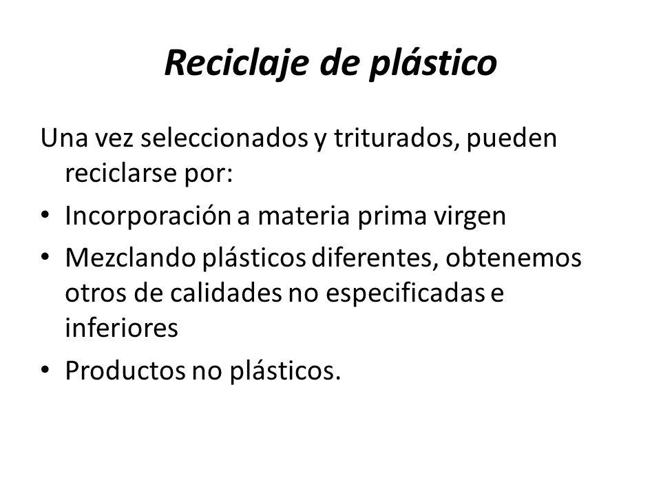 Reciclaje de plástico Una vez seleccionados y triturados, pueden reciclarse por: Incorporación a materia prima virgen.
