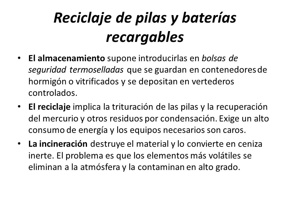 Reciclaje de pilas y baterías recargables