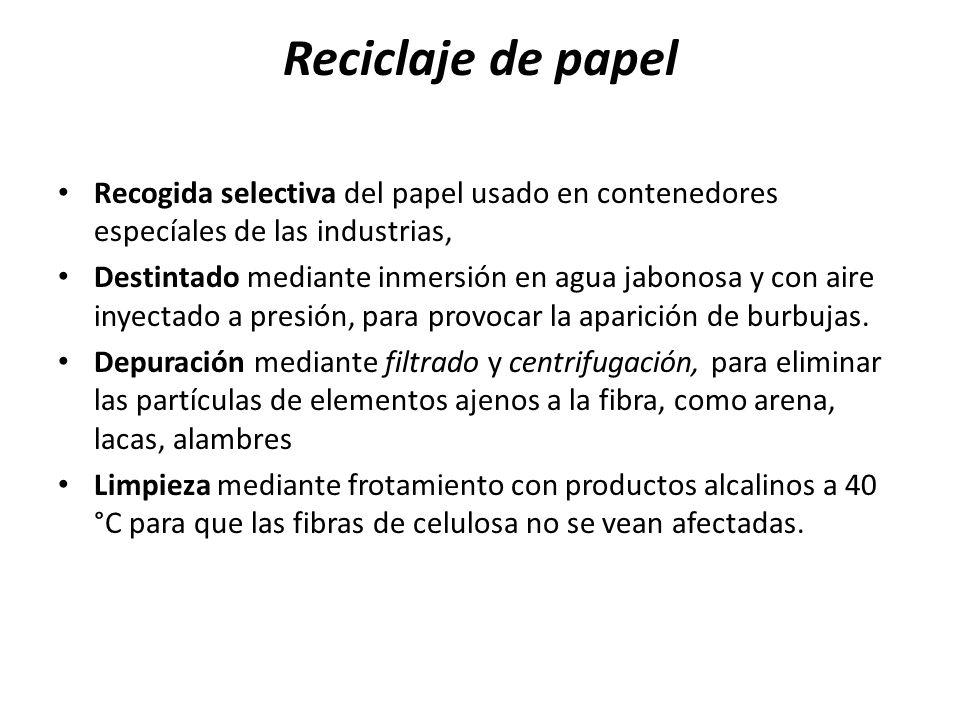 Reciclaje de papel Recogida selectiva del papel usado en contenedores especíales de las industrias,