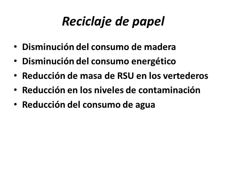 Reciclaje de papel Disminución del consumo de madera