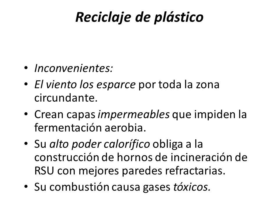 Reciclaje de plástico Inconvenientes:
