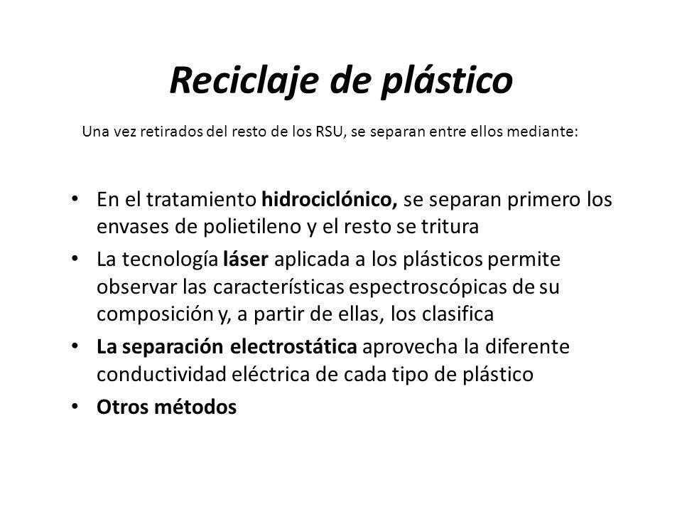 Reciclaje de plástico Una vez retirados del resto de los RSU, se separan entre ellos mediante: