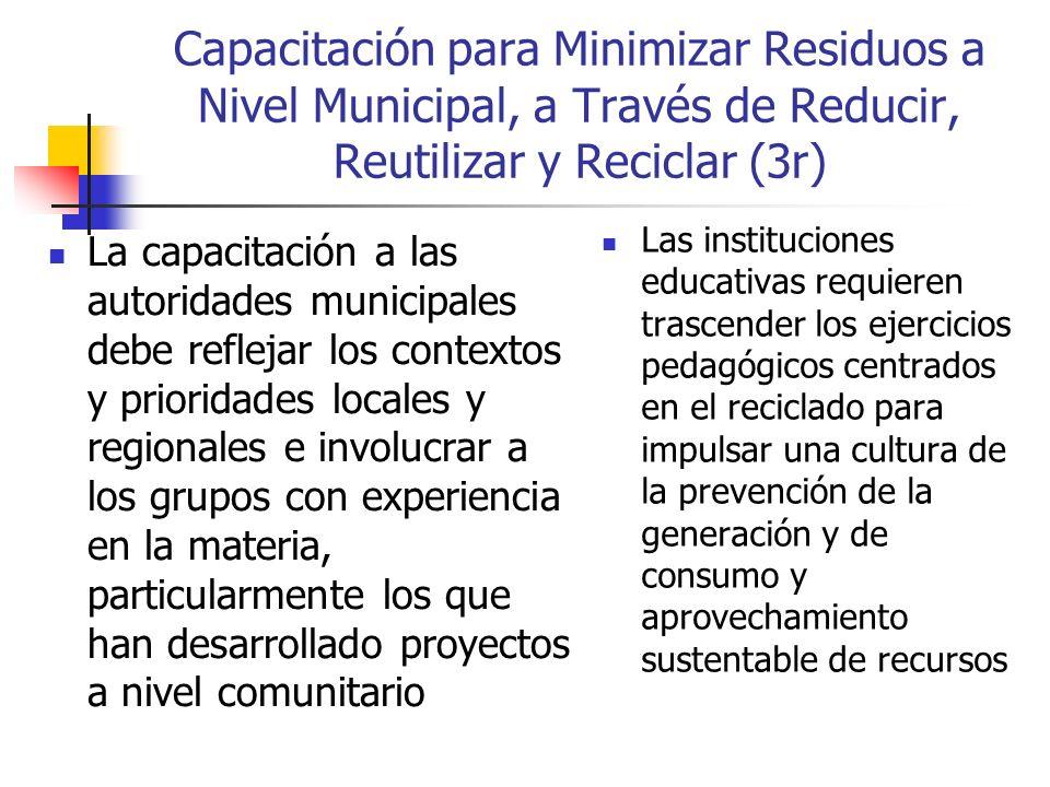 Capacitación para Minimizar Residuos a Nivel Municipal, a Través de Reducir, Reutilizar y Reciclar (3r)