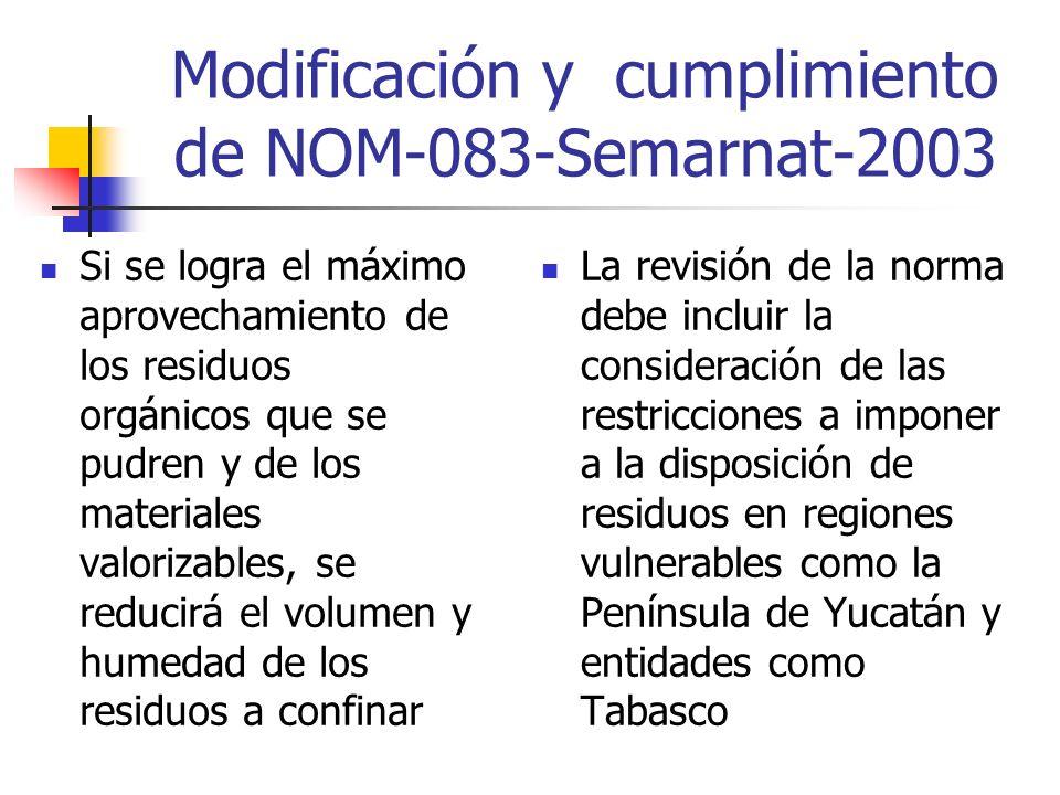 Modificación y cumplimiento de NOM-083-Semarnat-2003