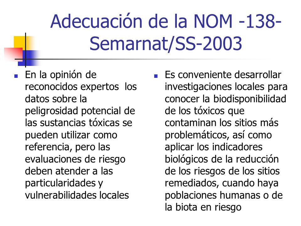 Adecuación de la NOM -138-Semarnat/SS-2003