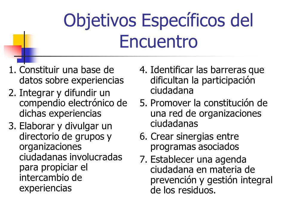 Objetivos Específicos del Encuentro