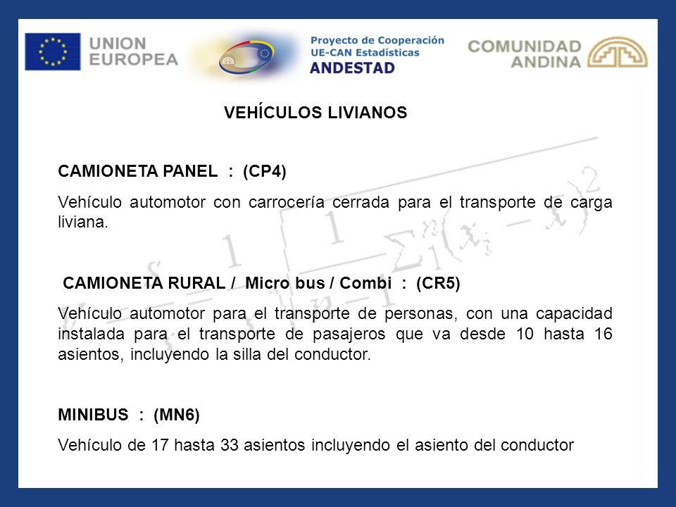 VEHÍCULOS LIVIANOS CAMIONETA PANEL : (CP4) Vehículo automotor con carrocería cerrada para el transporte de carga liviana.