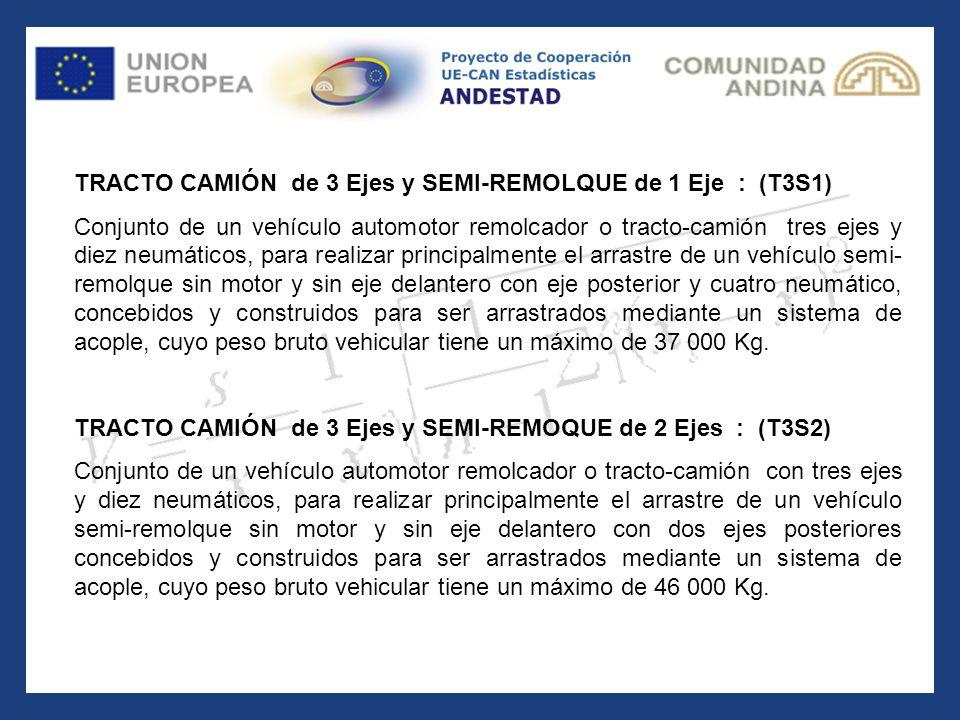 TRACTO CAMIÓN de 3 Ejes y SEMI-REMOLQUE de 1 Eje : (T3S1)