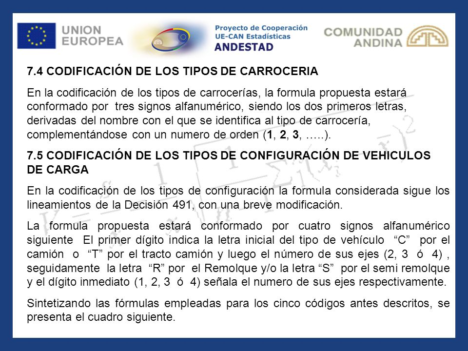 7.4 CODIFICACIÓN DE LOS TIPOS DE CARROCERIA