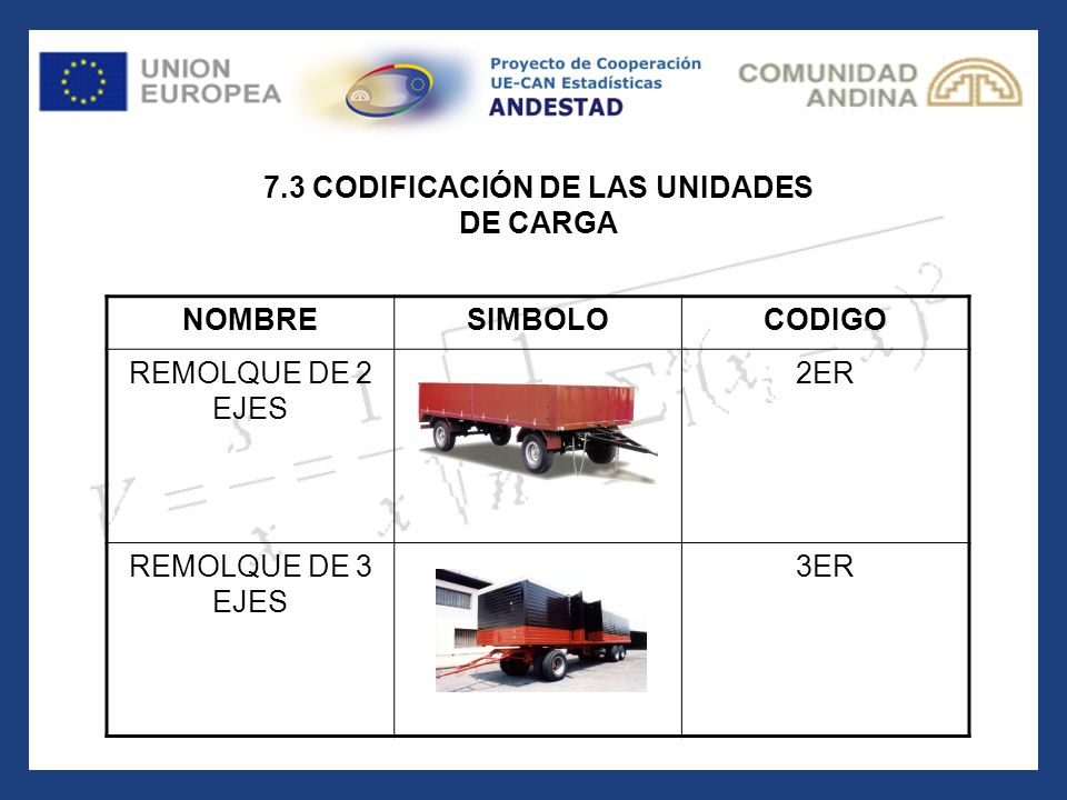 7.3 CODIFICACIÓN DE LAS UNIDADES DE CARGA