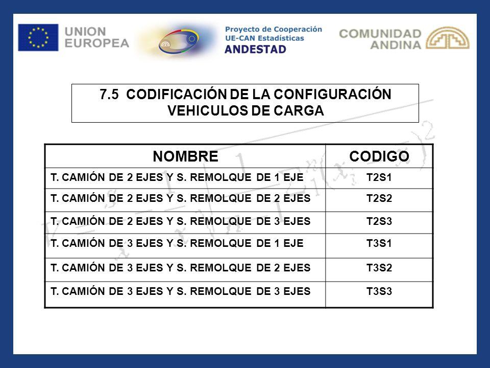 7.5 CODIFICACIÓN DE LA CONFIGURACIÓN VEHICULOS DE CARGA