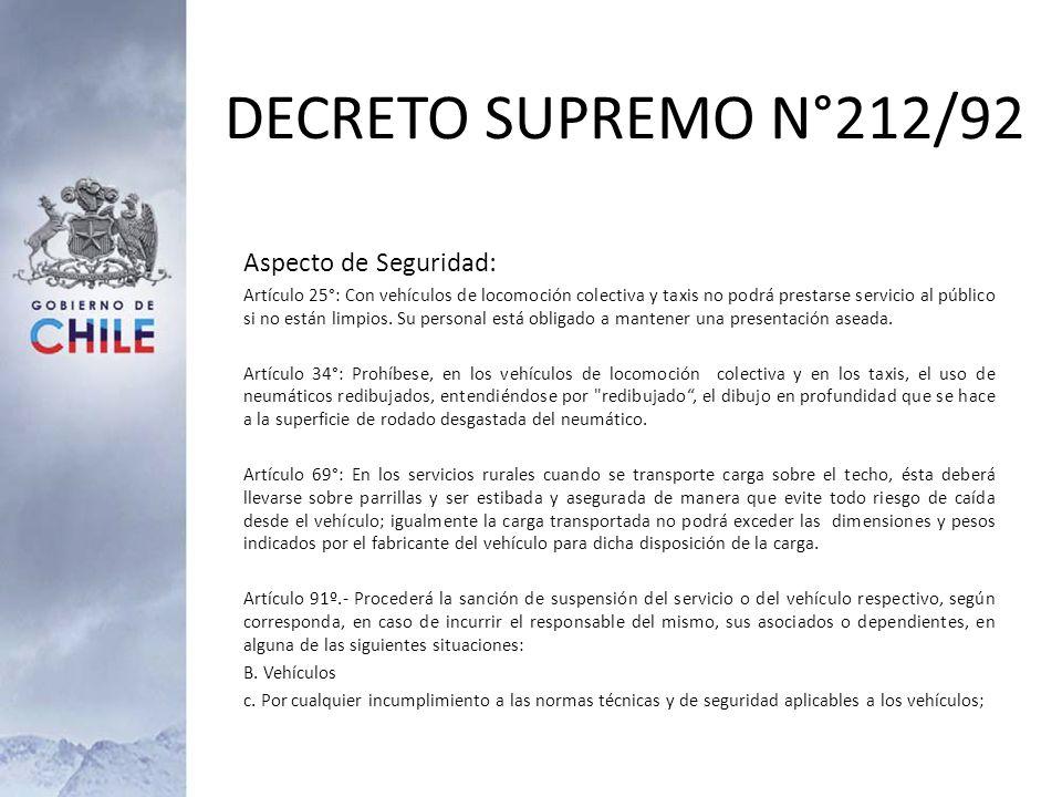DECRETO SUPREMO N°212/92 Aspecto de Seguridad:
