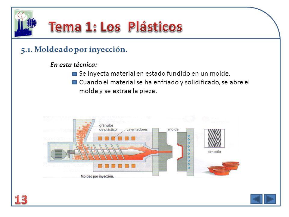 Tema 1: Los Plásticos 13 5.1. Moldeado por inyección. En esta técnica: