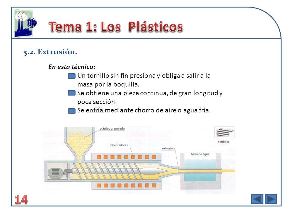 Tema 1: Los Plásticos 14 5.2. Extrusión. En esta técnica: