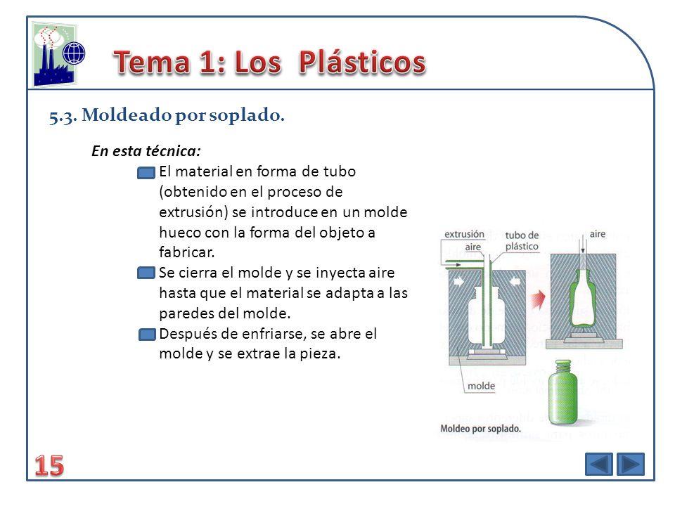 Tema 1: Los Plásticos 15 5.3. Moldeado por soplado. En esta técnica: