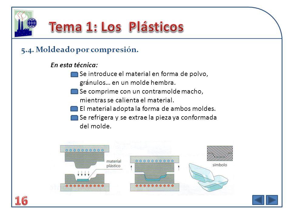 Tema 1: Los Plásticos 16 5.4. Moldeado por compresión.