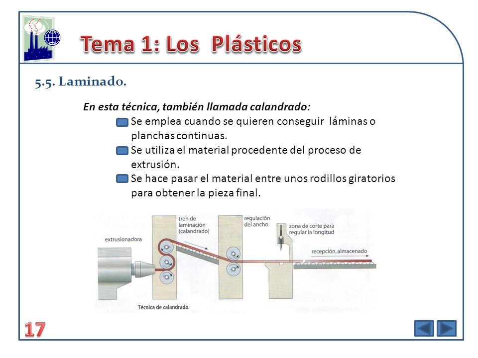 Tema 1: Los Plásticos 17 5.5. Laminado.