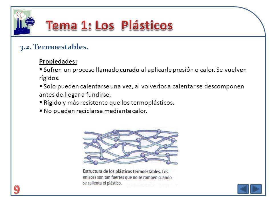 Tema 1: Los Plásticos 9 3.2. Termoestables. Propiedades: