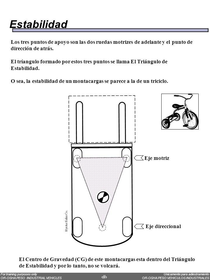 Estabilidad Los tres puntos de apoyo son las dos ruedas motrizes de adelante y el punto de dirección de atrás.