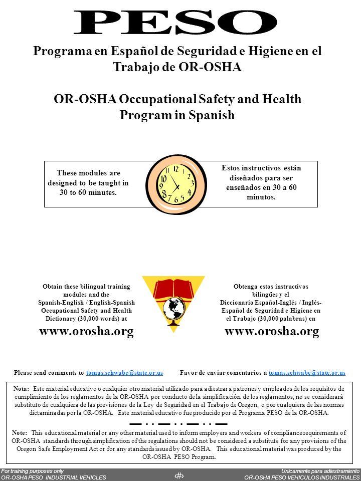 Programa en Español de Seguridad e Higiene en el Trabajo de OR-OSHA