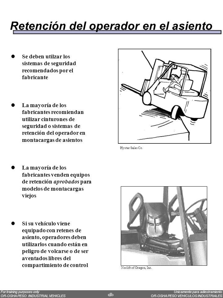 Retención del operador en el asiento