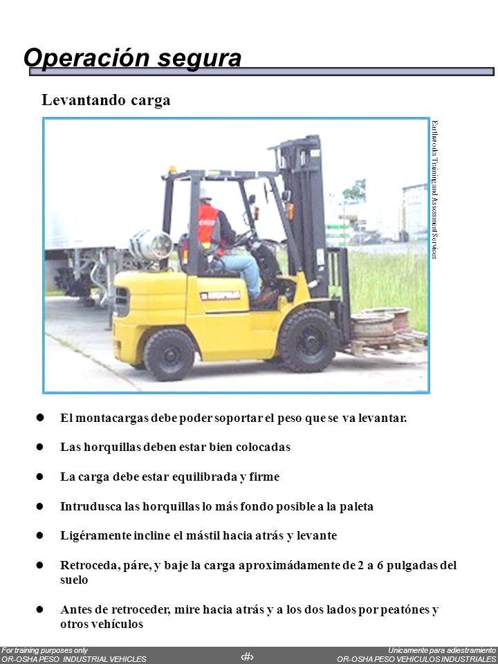 Operación segura Levantando carga