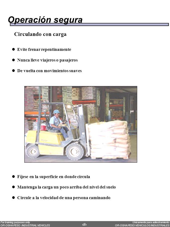 Operación segura Circulando con carga Evite frenar repentinamente