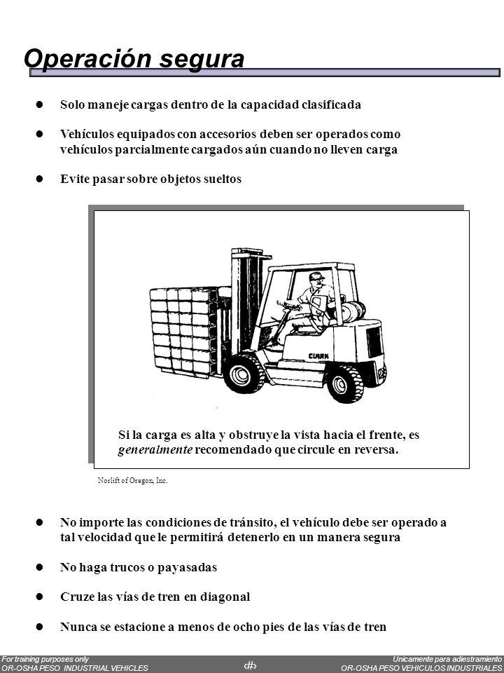 Operación segura Solo maneje cargas dentro de la capacidad clasificada