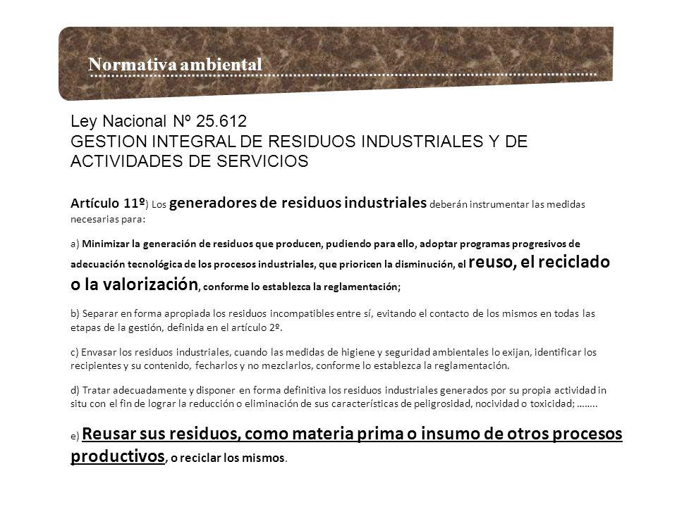 Normativa ambiental Ley Nacional Nº 25.612