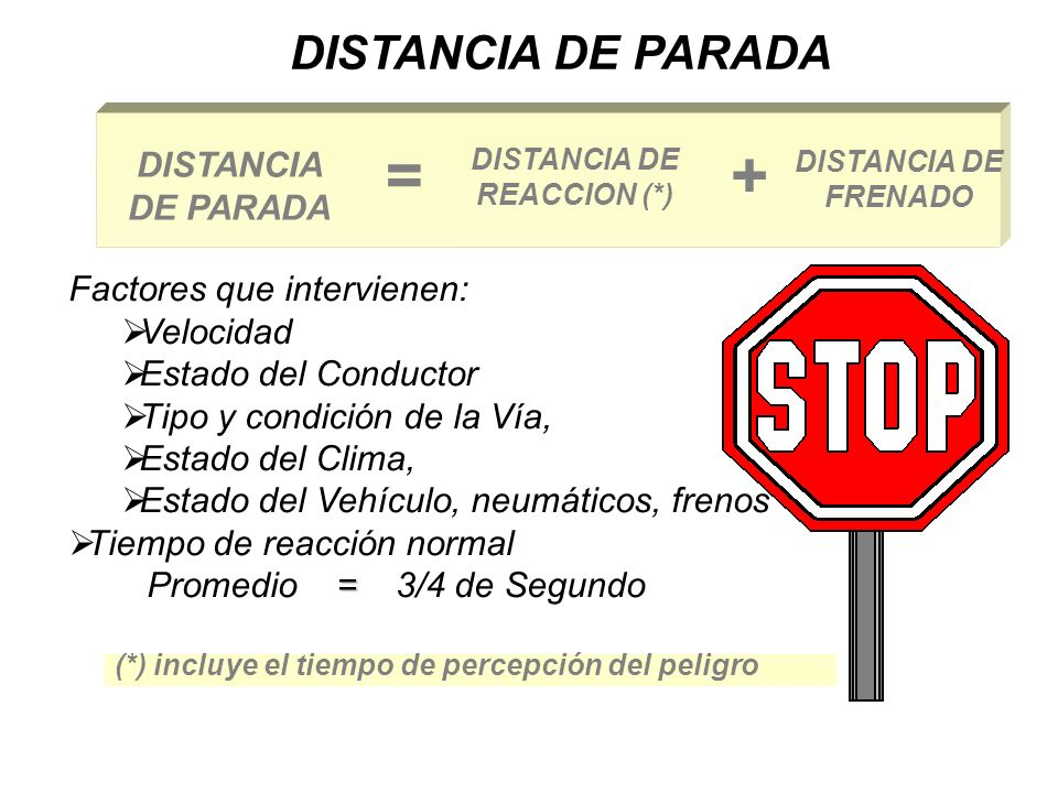 DISTANCIA DE REACCION (*)