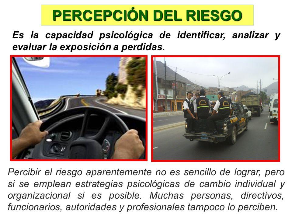 PERCEPCIÓN DEL RIESGO Es la capacidad psicológica de identificar, analizar y evaluar la exposición a perdidas.