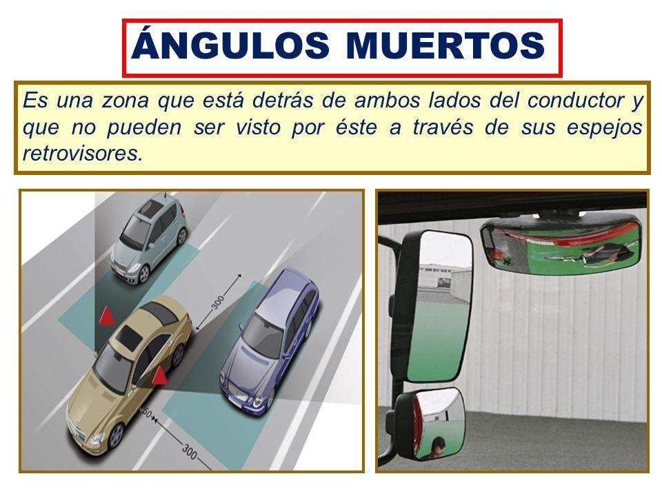 ÁNGULOS MUERTOS Es una zona que está detrás de ambos lados del conductor y que no pueden ser visto por éste a través de sus espejos retrovisores.