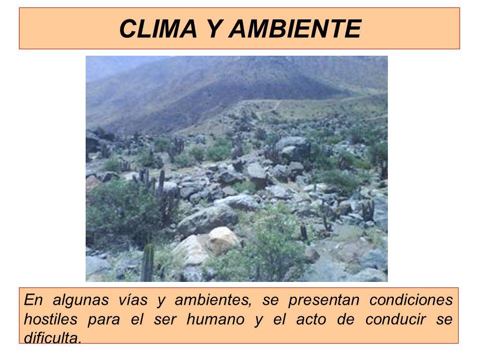 CLIMA Y AMBIENTE En algunas vías y ambientes, se presentan condiciones hostiles para el ser humano y el acto de conducir se dificulta.