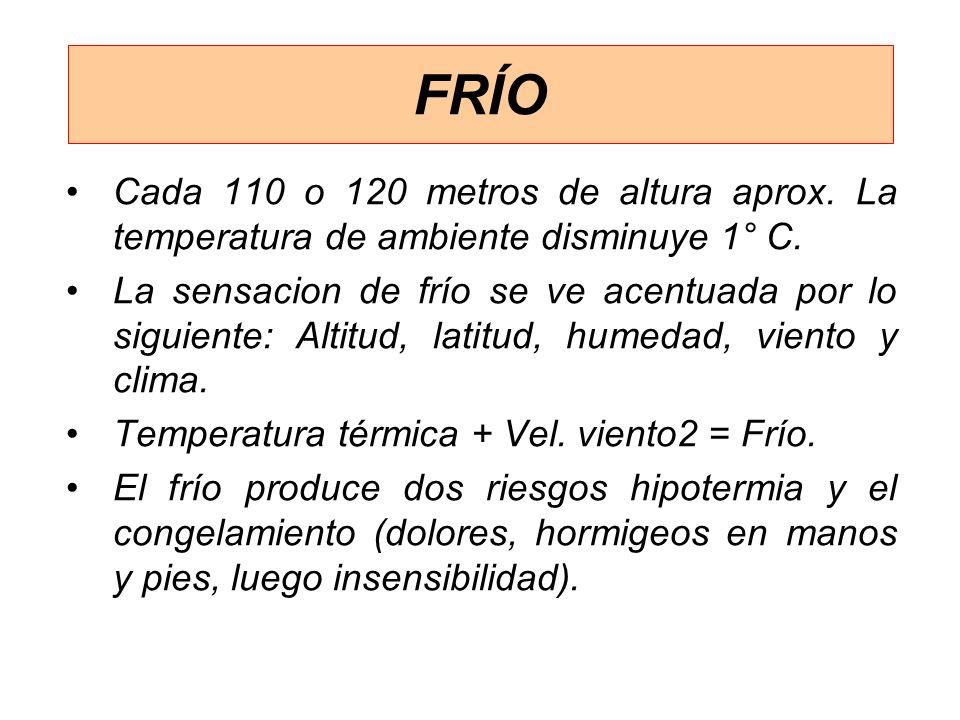 FRÍO Cada 110 o 120 metros de altura aprox. La temperatura de ambiente disminuye 1° C.