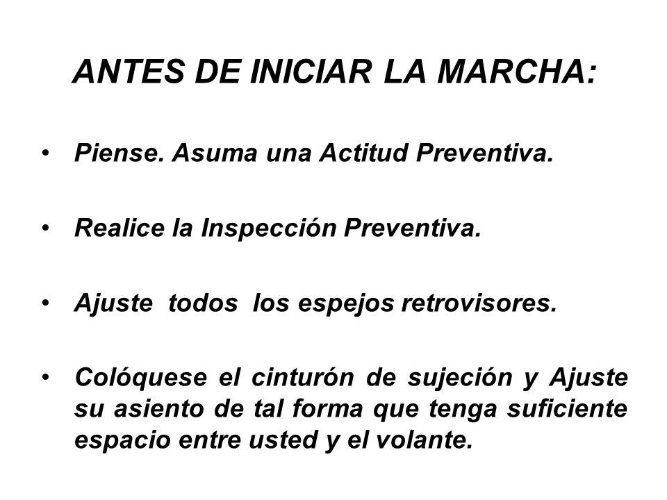 ANTES DE INICIAR LA MARCHA: