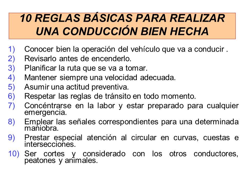 10 REGLAS BÁSICAS PARA REALIZAR UNA CONDUCCIÓN BIEN HECHA