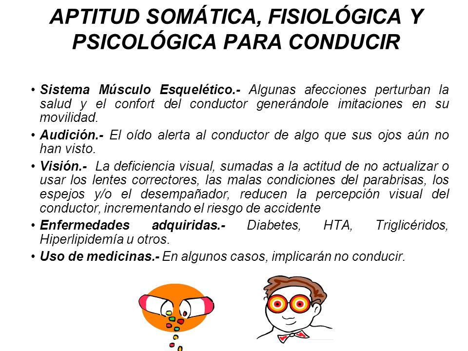 APTITUD SOMÁTICA, FISIOLÓGICA Y PSICOLÓGICA PARA CONDUCIR