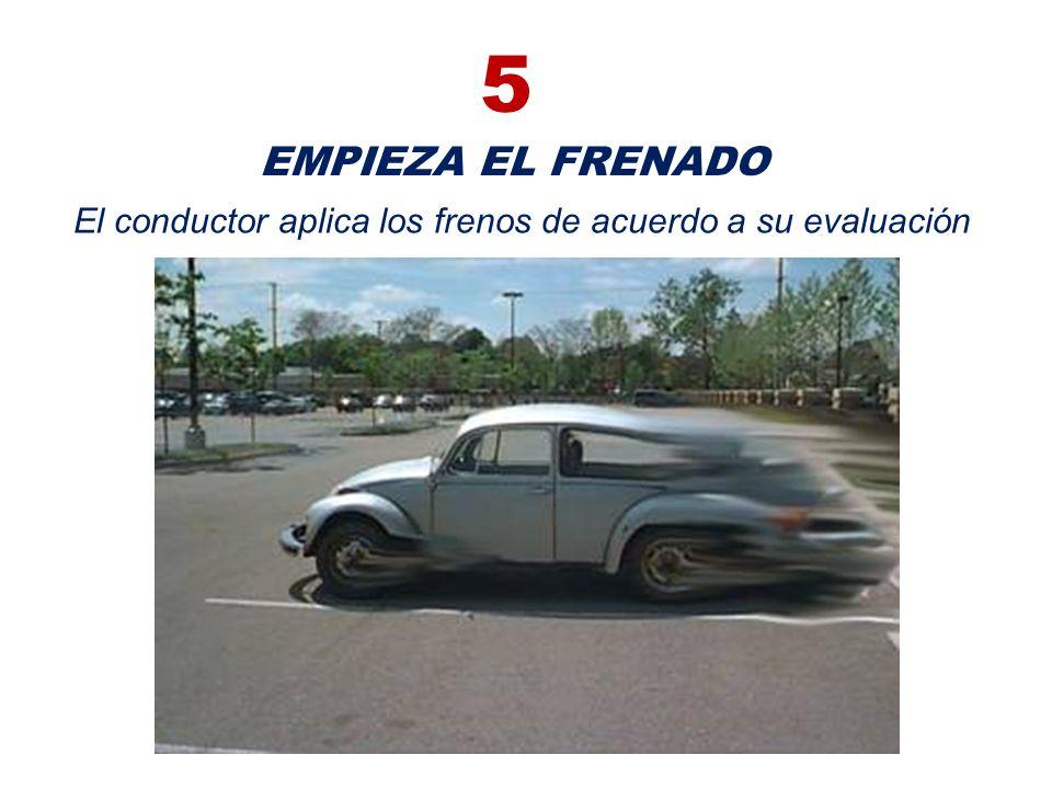El conductor aplica los frenos de acuerdo a su evaluación