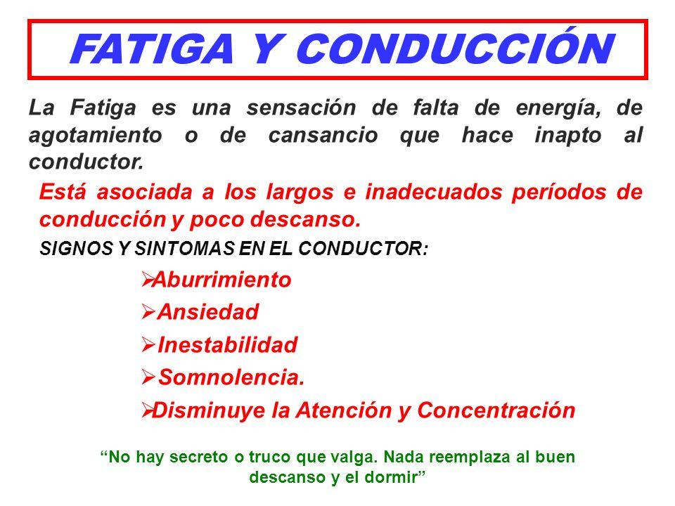 FATIGA Y CONDUCCIÓN La Fatiga es una sensación de falta de energía, de agotamiento o de cansancio que hace inapto al conductor.