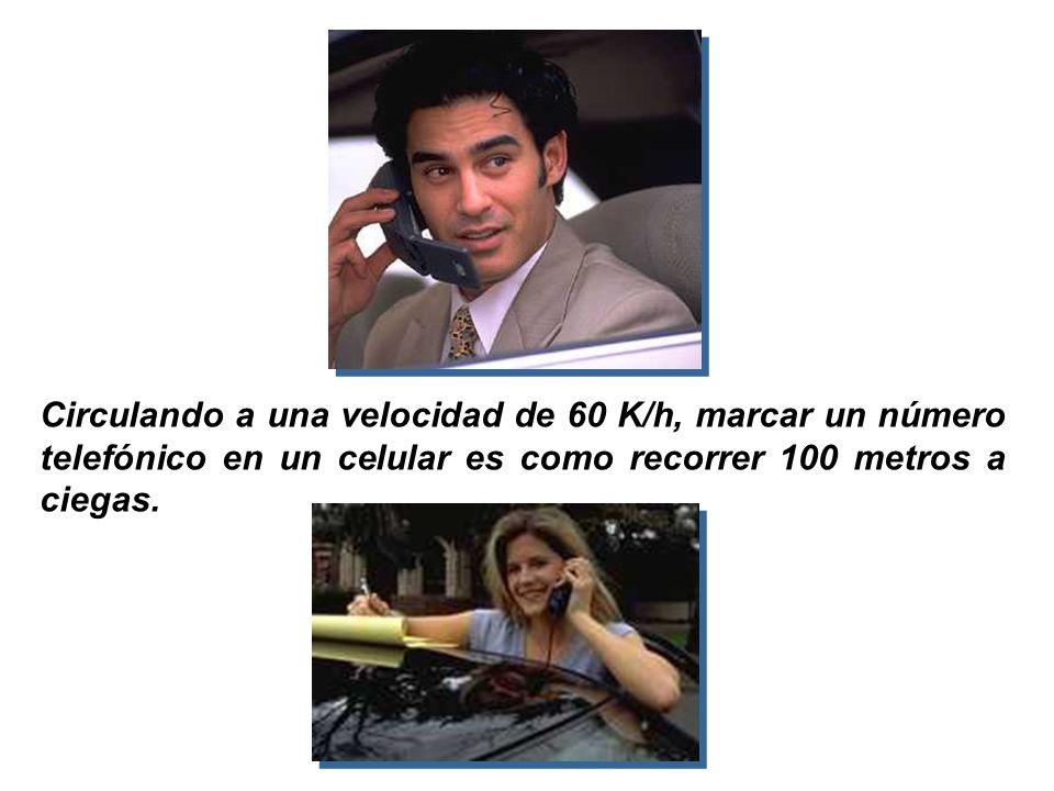 Circulando a una velocidad de 60 K/h, marcar un número telefónico en un celular es como recorrer 100 metros a ciegas.
