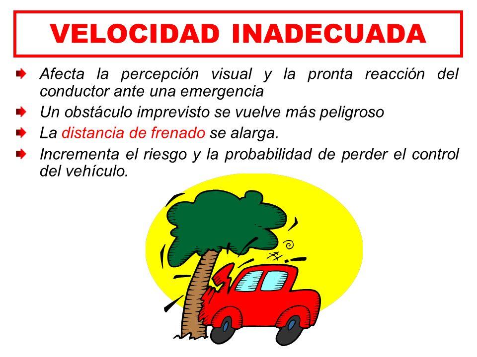 VELOCIDAD INADECUADA Afecta la percepción visual y la pronta reacción del conductor ante una emergencia.