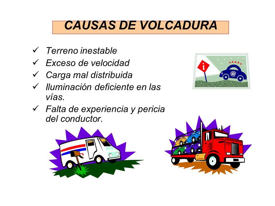 CAUSAS DE VOLCADURA Terreno inestable Exceso de velocidad